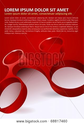 Abstract red background with modern 3d shape for poster, flyer, brochure and other prints.