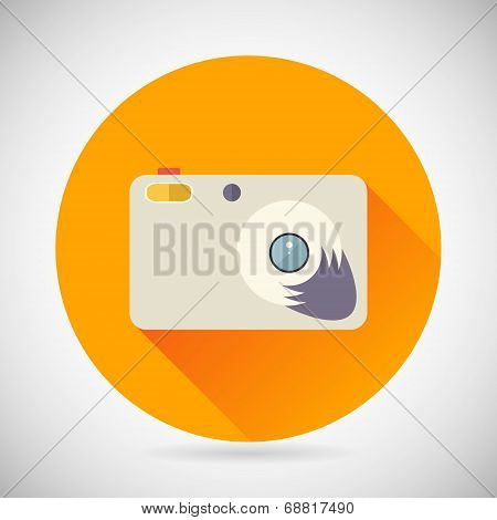 Photography Symbol Compact Camera Zoom Icon on Stylish Background Modern Flat Design Vector Illustra