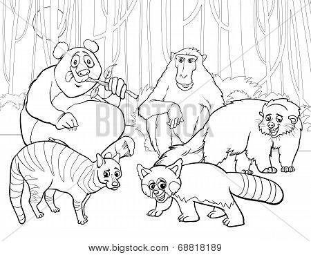 Animals Group Cartoon Coloring Page