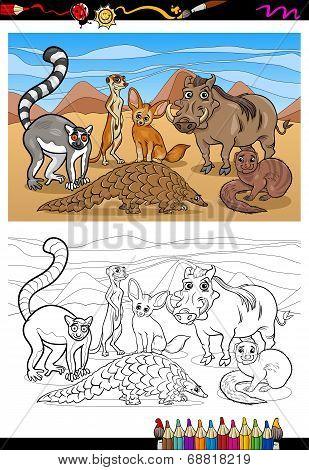 African Mammals Cartoon Coloring Book