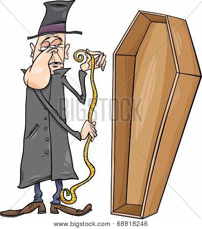 Undertaker With Coffin Cartoon Illustration