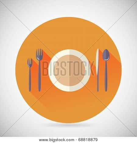 Restaurant Cuisine Meals Symbol Plate Spoon Fork Knife Icon with long shadow on Stylish Background M