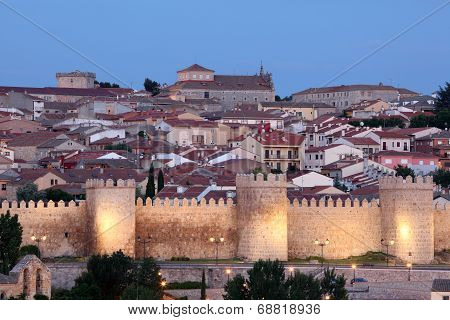 City Walls Of Avila At Dusk, Spain