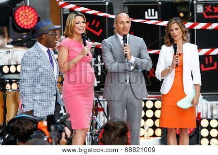 NEW YORK-JUL 22: (L-R) Al Roker, Savannah Guthrie, Matt Lauer and Natalie Morales on stage during NBC's 'Today Show' at Rockefeller Plaza on July 22, 2014 in New York City.