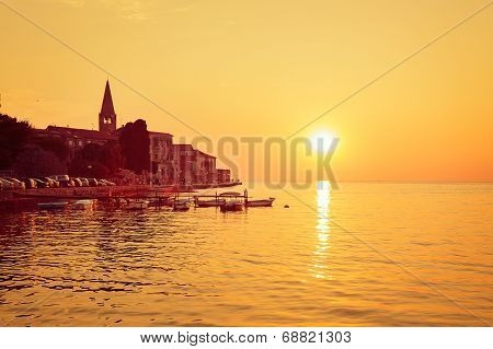 Porec View at Sunset. Medieval City in Croatia.