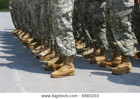 Military Boots in Formation