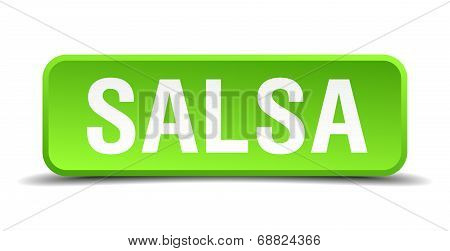 Salsa Green 3D Realistic Square Isolated Button