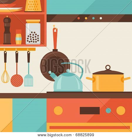 Card with kitchen interior and cooking utensils in retro style.