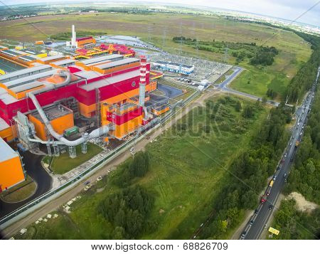 Aerial view on iron and steel works factory