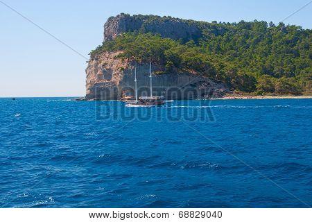 Mediterranean Sea Landscape View Mountains, Turkey