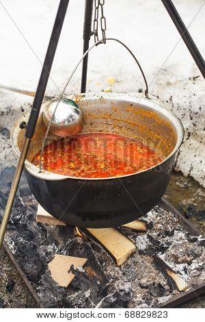 Goulash In Cauldron