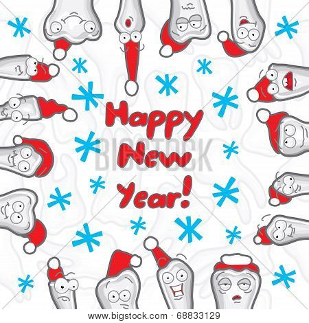 Teeth. Happy New Year greeting card