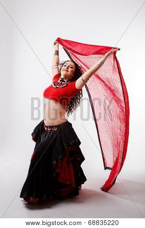 Tribal Dancer  With Red Shawl