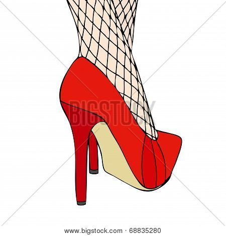 A Woman In Elegant Red Shoes And Fishnet Stockings