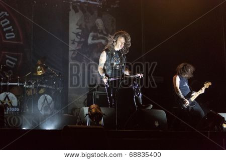 FARO - JULY 19: Heavy metal band Moonspell performs on stage at the XXXIII - International Motorcycle Meeting in Faro, Portugal, July 19, 2014
