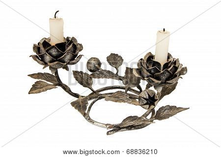 Candelabra With Candles Isolated On White
