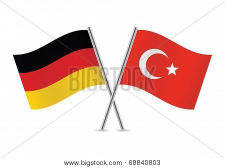 German and Turkish flags.Vector illustration.