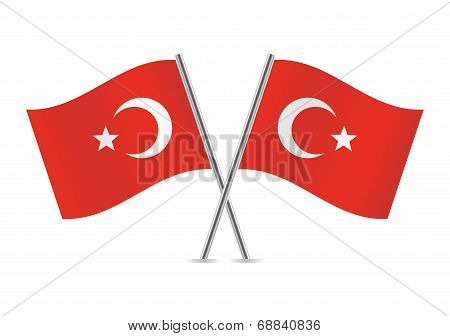 Turkey flags. Vector illustration.