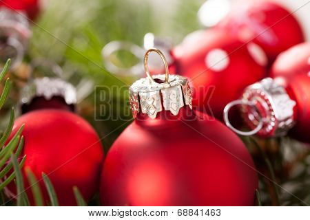 Pretty Red Polka Dot Christmas Bauble