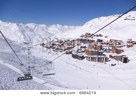 Alpine ski resort winter view