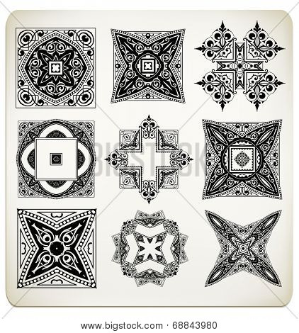 Vector old baroque design set.