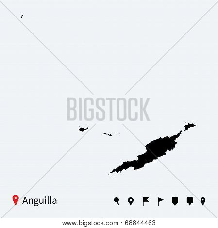 High detailed vector map of Anguilla with navigation pins.