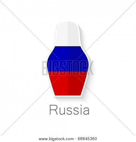 Symbol of Russia - russian tradition doll - painted in the colors of the flag of the country - white, blue and red . Vector flat icon.