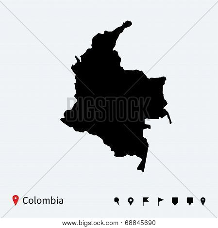 High detailed vector map of Colombia with navigation pins.
