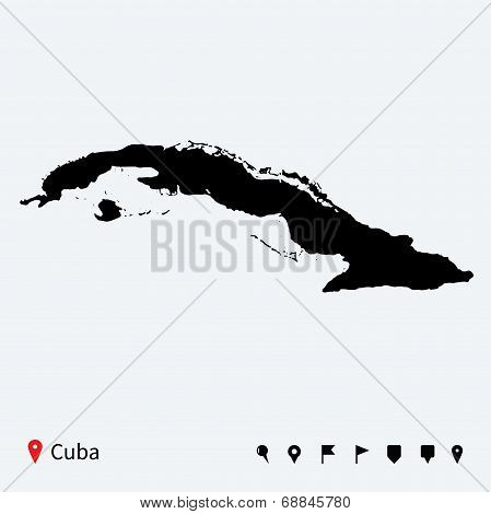 High detailed vector map of Cuba with navigation pins.