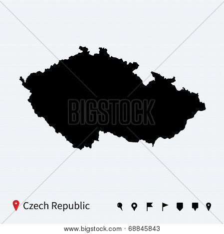 High detailed vector map of Czech Republic with navigation pins.
