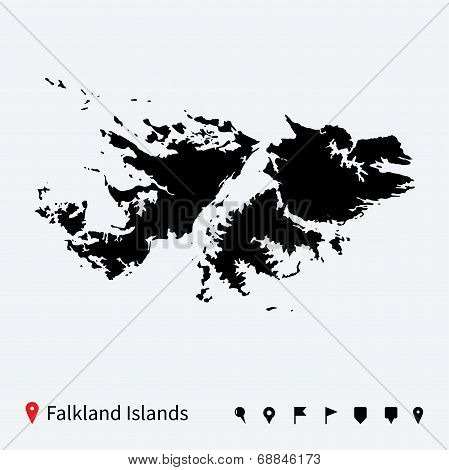 High detailed vector map of Falkland Islands with pins.