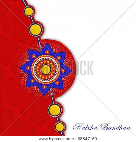 Beautiful colorful rakhi on floral design decorated red and grey background on the occasion of Happy Raksha Bandhan celebrations.