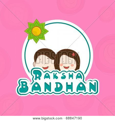 Cute little brother and sister faces decorated sticky for the occasion of Raksha Bandhan festival.
