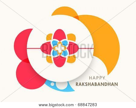 Beautiful colorful rakhi design with white sticky on colorful abstract background for the celebrations of Raksha Bandhan festival.