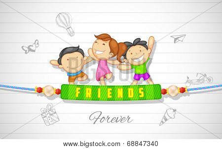 illustration of friends enjoying Happy Friendship Day