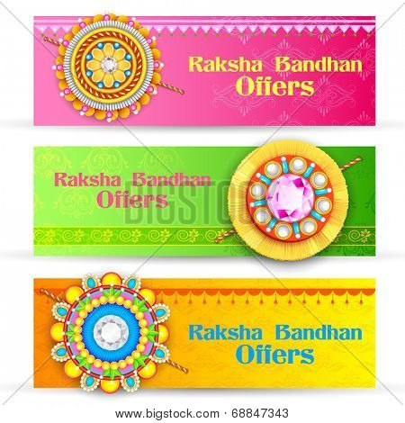 illustration of decorative rakhi for Raksha Bandhan banner