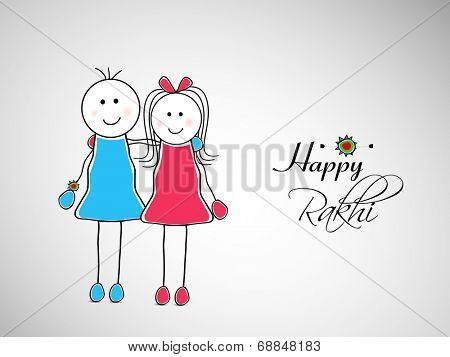 Cute little brother and sister hugging to each other on grey background for the Happy Rakhi celebrations.