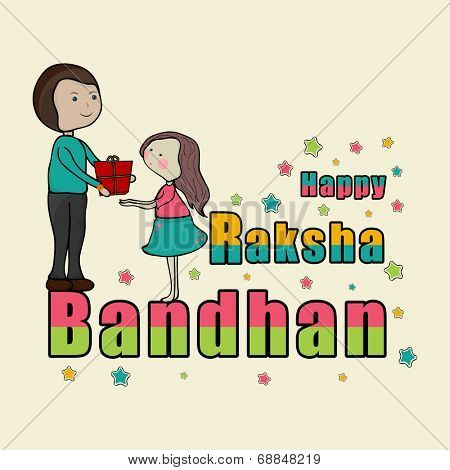 Brother giving gift to his cute little sister on occasion of Raksha Bandhan celebrations.