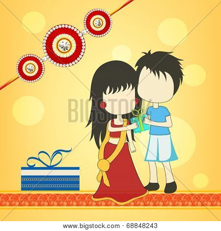 Beautiful concept on occasion of Raksha Bandhan celebrations with cute sister and brother hugging to each other on bright yellow background.