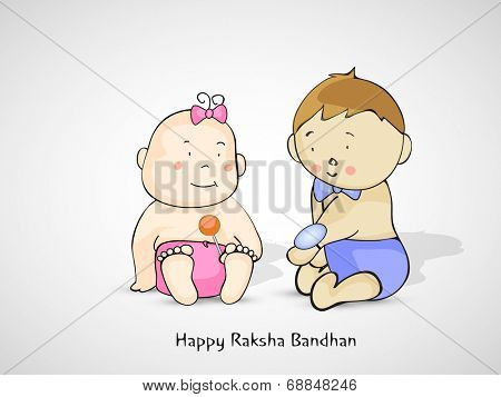Happy Raksha Bandhan celebrations concept with cute little brother showing rakhi to his sister on grey background.