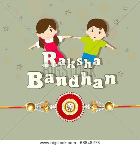 Cute little sister and brother holding their hands with beautiful rakhi on green background for Raksha Bandhan celebrations.