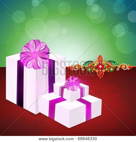 Big gift boxes wrapped with purple ribbon and gift boxes on shiny green and maroon background for Raksha Bandhan celebrations.