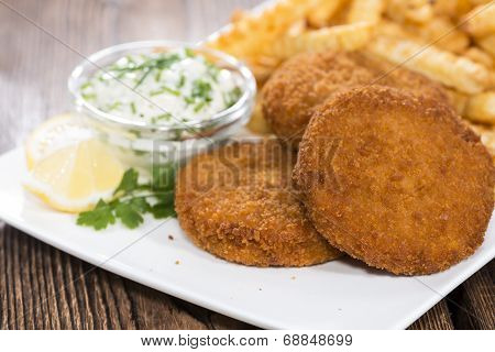 Homemade Fishburger With Chips