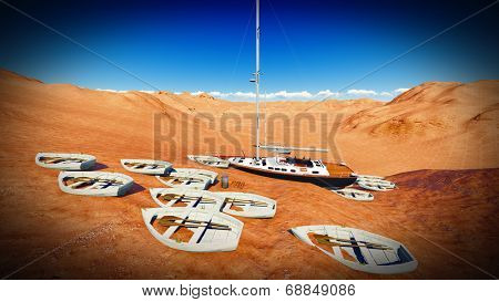 dried out lake with the boats