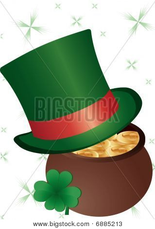 Green Tophat And Clovers
