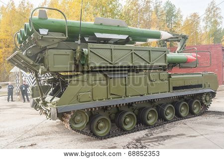 Buk-M1-2 surface-to-air missile systems in motion
