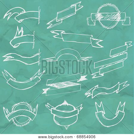 Hand Draw Ribbon Set, Vector Illustration