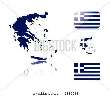Greek map and flags