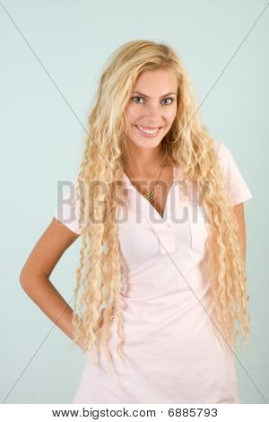 Headshot Portrait Of Beautiful Young Blond Woman