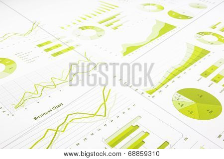 Green Graphs, Charts, Marketing Research And  Business Annual Report Background